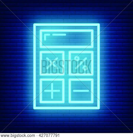 Calculator Icon Glow Neon Style, Educational Institution Process School, Color Outline Flat Vector I