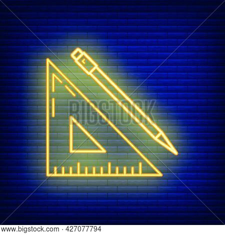 Wooden Ruler Pencil Document Icon Glow Neon Style, Educational Institution Process, Back To School O
