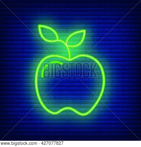 Apple Knowledge Icon Glow Neon Style, Educational Institution Process, Back To School Outline Flat V