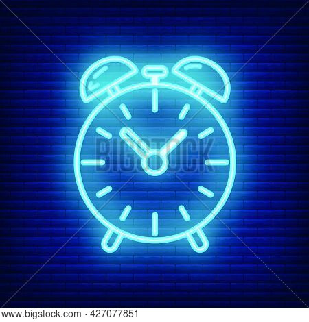 Alarm Clock Icon Glow Neon Style, Educational Institution Process, Back To School Outline Flat Vecto