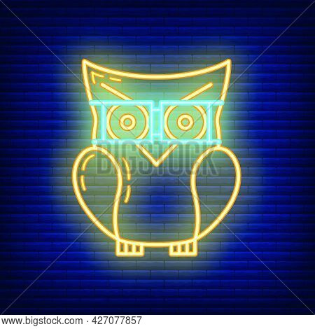 Smart Knowledge Owl Icon Glow Neon Style, Educational Institution Process, Back To School Outline Fl