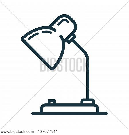 Table Desk Lamp Icon, Educational Institution Process School, Outline Flat Vector Illustration, Isol