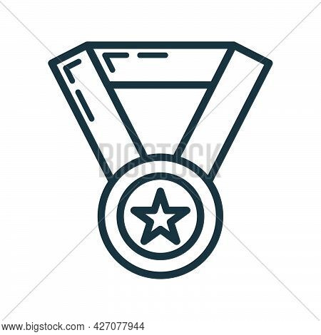 Medal First Place Star Icon Glow Neon Style, Educational Institution Process, Back To School Outline