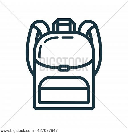 Backpack Icon Educational Institution Process, Back To School Outline Flat Vector Illustration, Isol