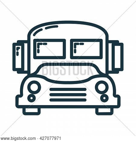 School Bus Icon, Educational Institution Process, Back To School Outline Flat Vector Illustration, I
