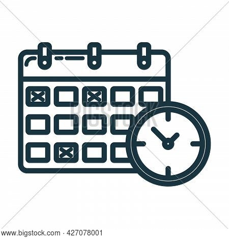 Calendar Deadline Time Icon, Educational Institution Process, Back To School Outline Flat Vector Ill