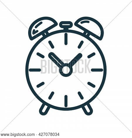 Alarm Clock Icon, Educational Institution Process, Back To School Outline Flat Vector Illustration,