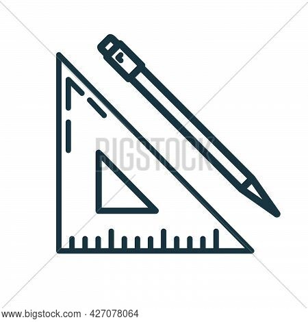 Wooden Ruler Pencil Document Icon, Educational Institution Process, Back To School Outline Flat Vect