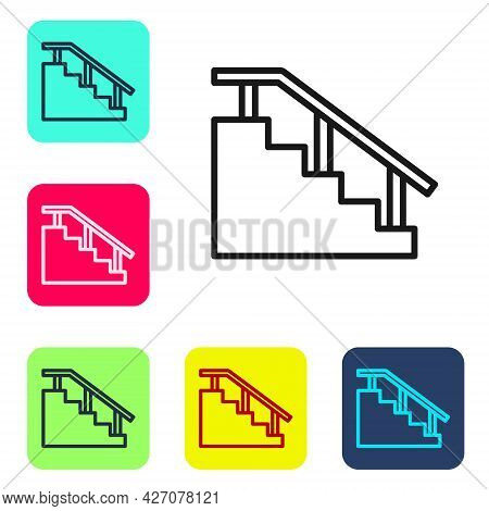 Black Line Skateboard Stairs With Rail Icon Isolated On White Background. Set Icons In Color Square