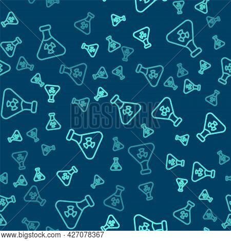 Green Line Laboratory Chemical Beaker With Toxic Liquid Icon Isolated Seamless Pattern On Blue Backg