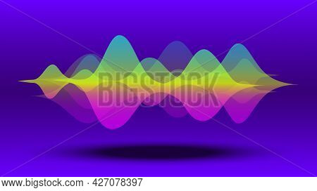 Multicolor Abstract Fluid Sound Wave. Audio Digital Equaliser Technology, Pulse Musical, And Light F
