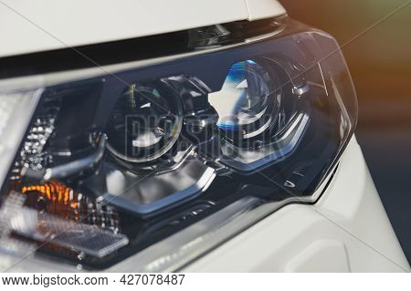 Led Lamps In Car Headlight Close Up View