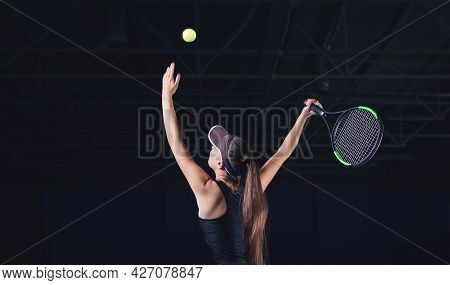 Portrait Of A Beautiful Tennis Player During A Match. Sports Concept.