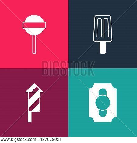 Set Pop Art Circus Ticket, Firework Rocket, Ice Cream And Lollipop Icon. Vector