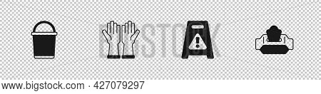 Set Bucket, Rubber Gloves, Wet Floor And Wipe Pack Icon. Vector