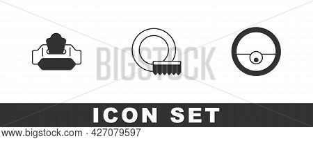 Set Wet Wipe Pack, Washing Dishes And Robot Vacuum Cleaner Icon. Vector