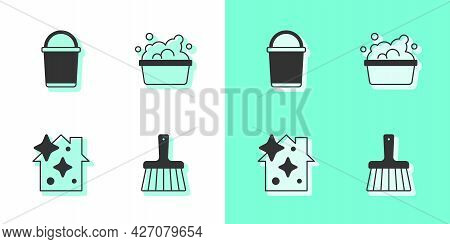 Set Handle Broom, Bucket, Home Cleaning Service And Basin With Soap Suds Icon. Vector
