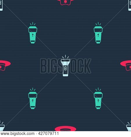 Set Sheriff Hat With Badge, Flashlight And On Seamless Pattern. Vector