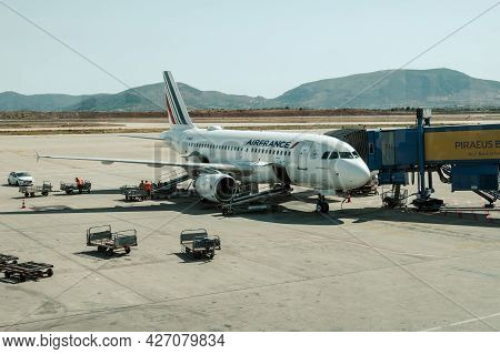 Athens, Greece - October 1, 2020: Air France Airlines Airplane Parked At International Athens Airpor