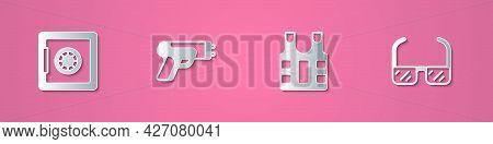 Set Paper Cut Safe, Police Electric Shocker, Bulletproof Vest And Safety Goggle Glasses Icon. Paper