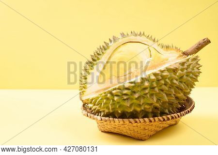Ripe Thai Durian Fruit (monthong) In A Basket On Yellow Background, Tropical Fruit