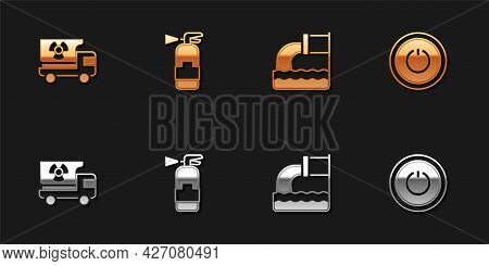Set Truck With Radiation Materials, Fire Extinguisher, Wastewater And Power Button Icon. Vector