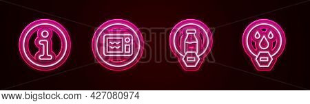 Set Line Information, Microwave Oven, Lactose Free And Water Drop Forbidden. Glowing Neon Icon. Vect