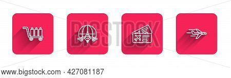 Set Line Trolley Baggage, Globe With Flying Plane, Airline Ticket And Plane With Long Shadow. Red Sq