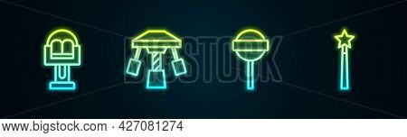 Set Line Attraction Carousel, , Lollipop And Magic Wand. Glowing Neon Icon. Vector