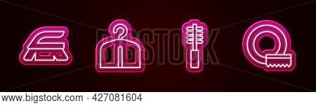 Set Line Brush For Cleaning, Hanger Wardrobe, Toilet Brush And Washing Dishes. Glowing Neon Icon. Ve