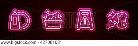 Set Line Dishwashing Liquid Bottle, Basin With Soap Suds, Wet Floor And Sponge. Glowing Neon Icon. V