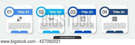 Set Line Longboard Or Skateboard, Skateboard Wheel, Knee Pads And . Business Infographic Template. V