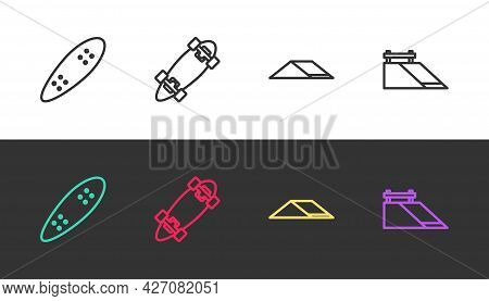 Set Line Longboard Or Skateboard, , Skate Park And On Black And White. Vector