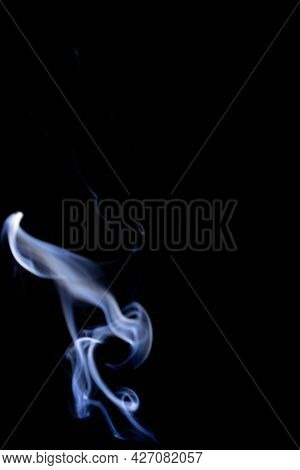 Isolated Steam. Blur  Steam Mist Cloud, Abstract Fog Or White Smoke Isolated On Black Background. Ab