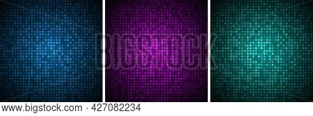 Technology Banners Set. Abstract Gradient Glow Circular Dots Backgrounds. Glowing Circle Pixel Patte