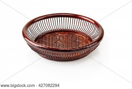 Lacquered Wooden Plate For Bread And Fruits Isolated On White Background. Rustic Style Eco-friendly