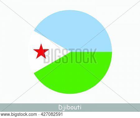 Djibouti Round Circle Flag. Djiboutian Circular Button Banner Icon. Eps Vector