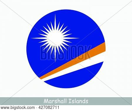 Marshall Islands Round Circle Flag. Marshallese Circular Button Banner Icon. Eps Vector