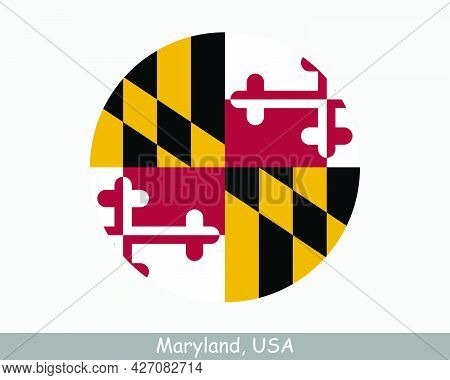 Maryland Round Circle Flag. Md Usa State Circular Button Banner Icon. Maryland United States Of Amer
