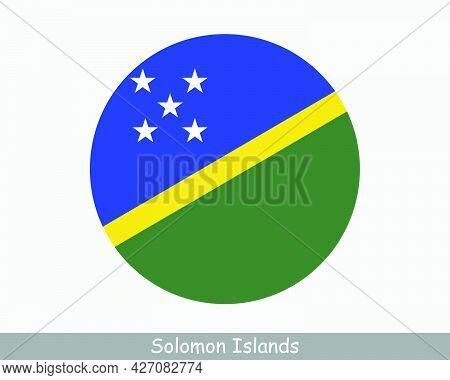 Solomon Islands Round Circle Flag. Solomon Islands Circular Button Banner Icon. Eps Vector