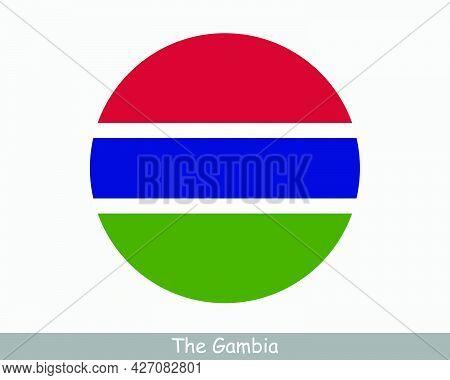 The Gambia Round Circle Flag. Gambian Circular Button Banner Icon. Eps Vector