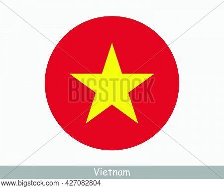 Vietnam Round Circle Flag. Vietnamese Circular Button Banner Icon. Eps Vector