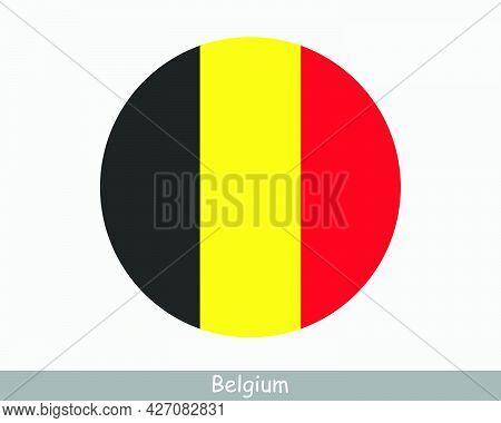Belgium Round Circle Flag. Belgian Circular Button Banner Icon. Eps Vector