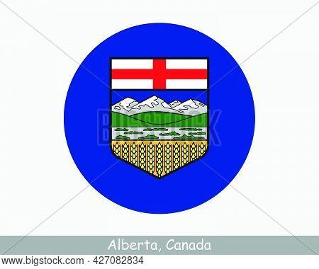 Alberta Canada Round Circle Flag. Ab Canadian Province Circular Button Banner Icon. Eps Vector