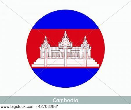 Cambodia Round Circle Flag. Cambodian Circular Button Banner Icon. Eps Vector