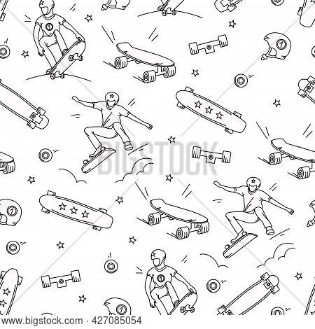 Skateboard, A Teenager Performs Tricks With A Seamless Pattern On A White Background. Vector Illustr