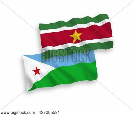 National Fabric Wave Flags Of Republic Of Suriname And Republic Of Djibouti Isolated On White Backgr