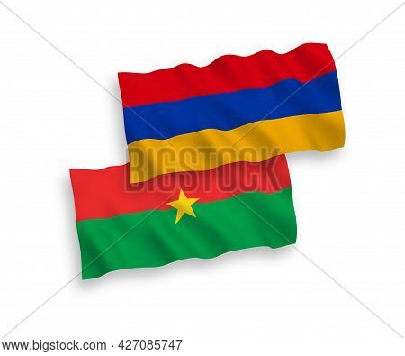 National Fabric Wave Flags Of Burkina Faso And Armenia Isolated On White Background. 1 To 2 Proporti