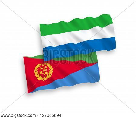 National Fabric Wave Flags Of Eritrea And Sierra Leone Isolated On White Background. 1 To 2 Proporti