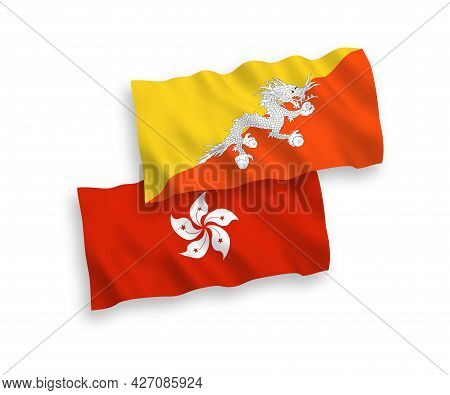 National Fabric Wave Flags Of Kingdom Of Bhutan And Hong Kong Isolated On White Background. 1 To 2 P